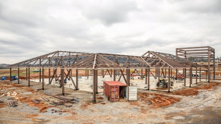 Frame of building at construction site