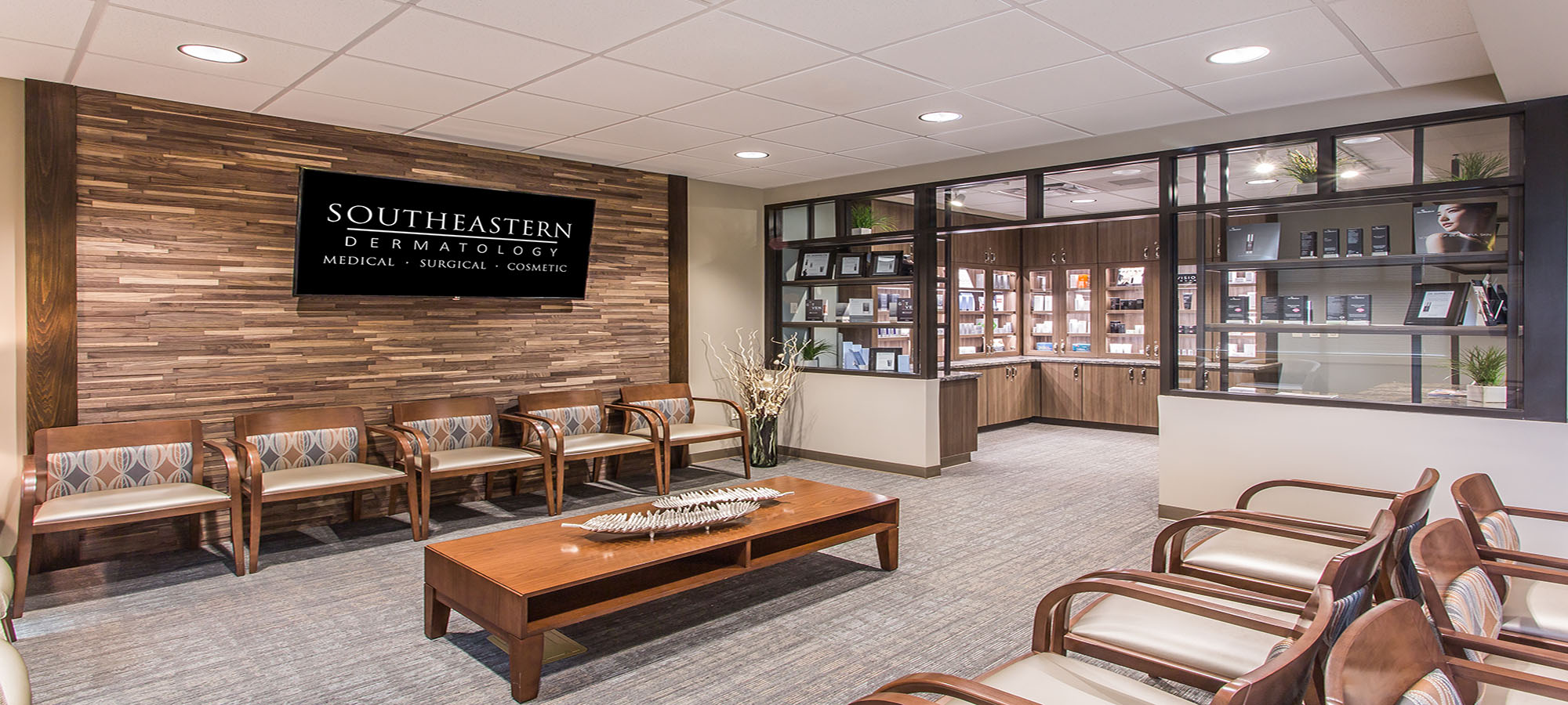 Picture of waiting room at Southeastern Dermatology